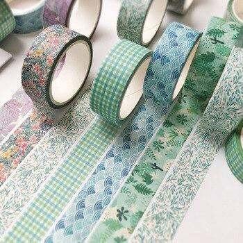 6 Pcs/Set Cute Grid Leaves Washi Tape Kawaii Unicorn Cat Masking Tape Decorative Adhsive Tape Sticker Scrapbook Diary Stationery цена 2017
