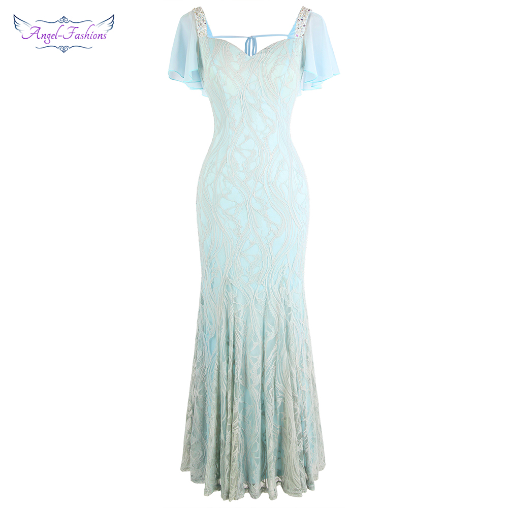 Angel-fashions Cap Sleeve Chiffon Evening Dresses Long Beading Lace Wedding Party Dress Gray Blue 462