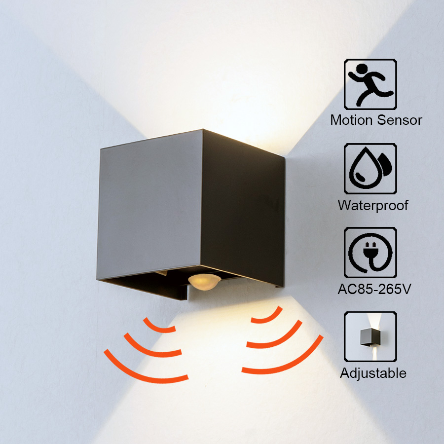 Czujnik radarowy światło werandy z regulowanym kątem zewnętrzne i wewnętrzne kinkiety LED ogrodowa lampa do korytarza kinkiet ścienny Cube