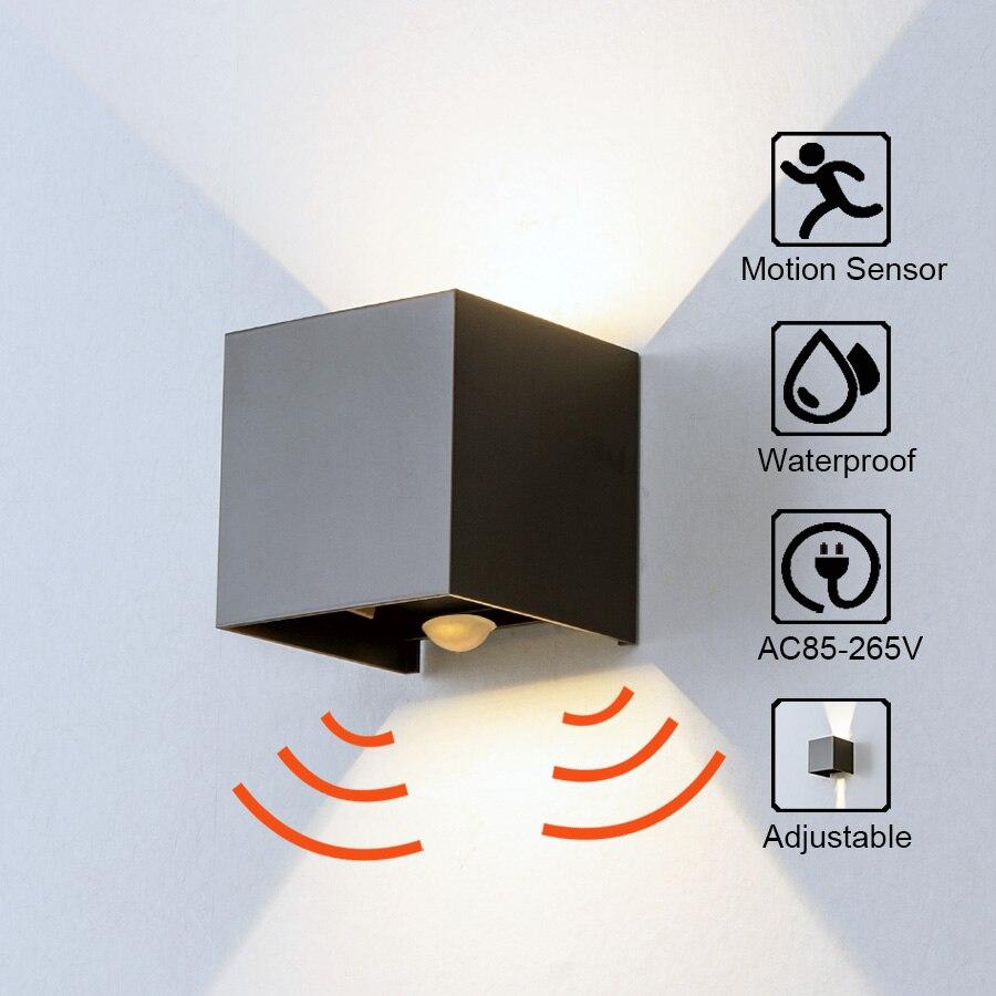 Sensor de Radar Luz de porche ángulo ajustable al aire libre e Interior luces de pared LED jardín pasillo lámpara cubo aplique de pared