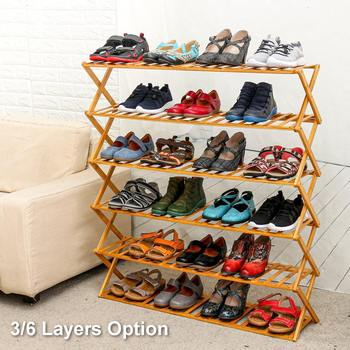 3/6 Layers Bamboo Shoes Rack Organizer Stand Holder Home Office Folding Storage Shelf Furniture Portable Shoes Cabinet Rack