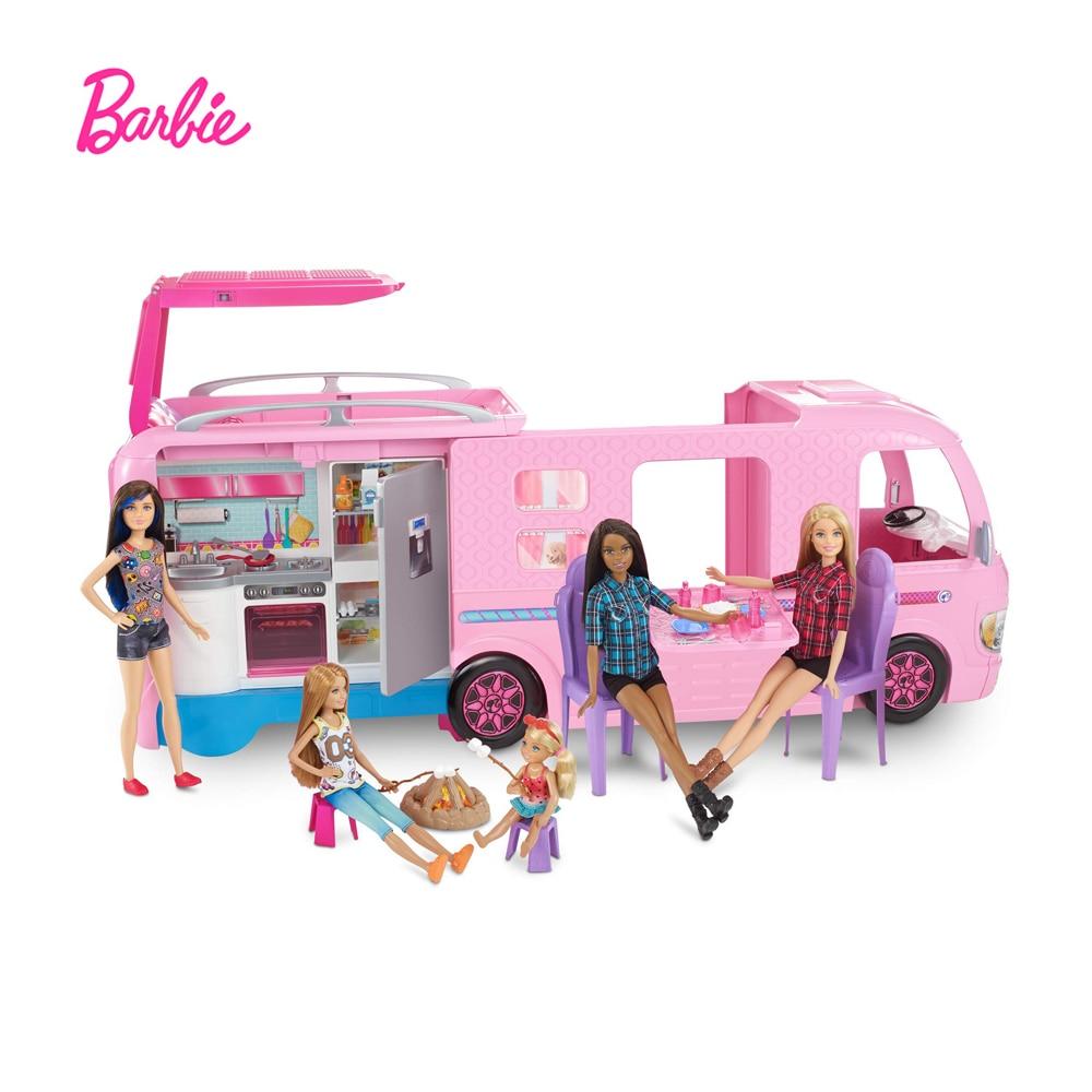 Barbie Traum Camper Rosa Pop Out Caravan Spielset Mit Pool Zubehör Super Abenteuer Camper Puppe Spielzeug FBR34