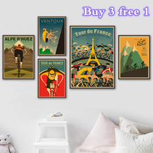 Alpe bicicleta de montaña paseo en bicicleta Retro Vintage cartel de papel Kraft pintura impresión de imagen de pared hogar dormitorio Decoración