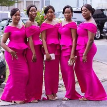 African Fuchsia Mermaid Bridesmaid Dresses Plus Size Off Shoulder Peplum Tiered Stain Maid Of Honor Dress For Weddings
