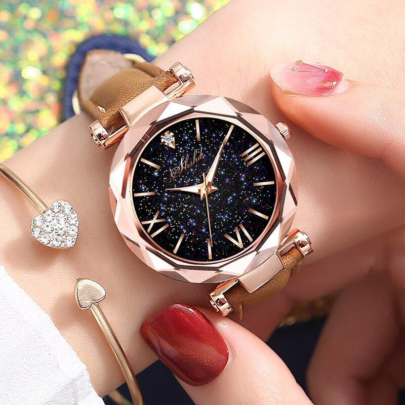 1PC Women Watch Leather Band Ladies Quartz Wrist Watch Starry Sky Round Dial Roman Number Rhinestone Watches Relogio Feminino