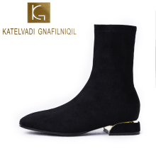 KATELVADI Autumn Winter Womens Boots Elastic Flock Round Toe Chunky Heel Black Fashion Ankle Chelsea  K-545