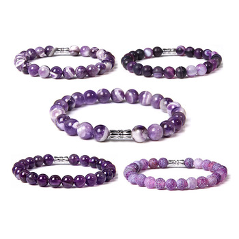 Natural purple stone beads bracelet smooth matte amethysts Kunzite agates for Women Men Crystal Quartz Bracelets Elastic lucky red watermelon tourmaline stone beads bracelet for women men natural stone bracelet crystal quartz bracelets elastic