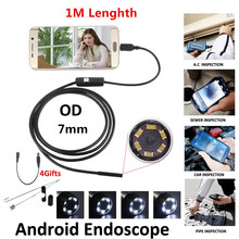 LESHP 7mm Lens MircoUSB Android OTG USB Endoscope Camera 1M Waterproof Snake Pipe Inspection Android USB Borescope Camera цена