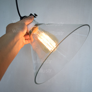 Image 5 - Temizle cam huni kolye ışık şeffaf Vintage lamba Edison ampul filamanı amerikan restoran otel yemek odası aydınlatma