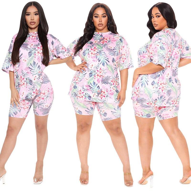 Pink Shorts Set Women 2021 Two Piece Plus Size Set 5XL 4XL 3XL Oversized 2 Piece Set Femme Large Size Casual Summer Matching Set