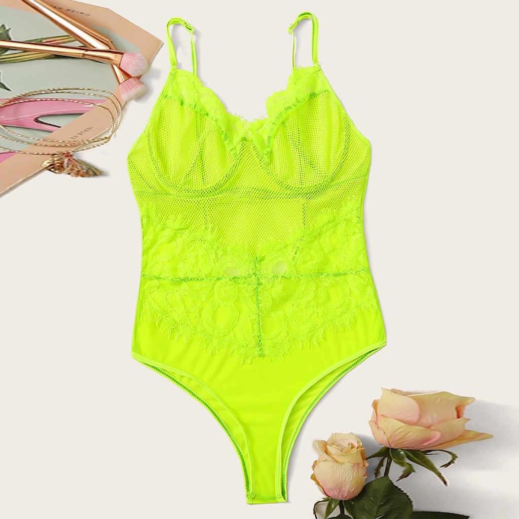 Bodysuit de encaje mujeres Floral bordado pajarita ahueca hacia fuera Sexy Bodysuit overoles fiesta 2019 primavera colores # L5