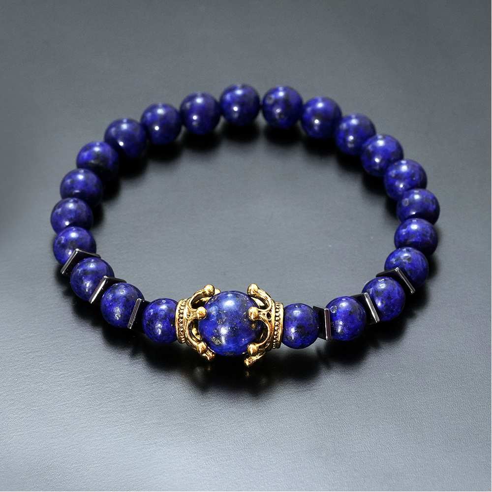 Charm Bracelet for Men Fashion Luxury Antique crown High quality Tiger eye stone bead Bracelets Jewelry Male Pulseira bileklik 1