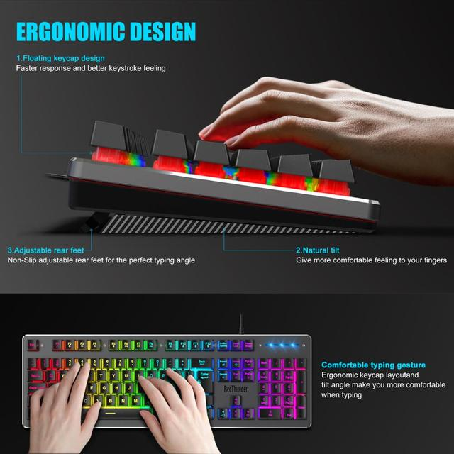 RedThunder K800 RGB Gaming Keyboard and Mouse, Sim-Mechanical Metal Cover, 6400DPI 7 Programmable Button for PC RU ES FR 6