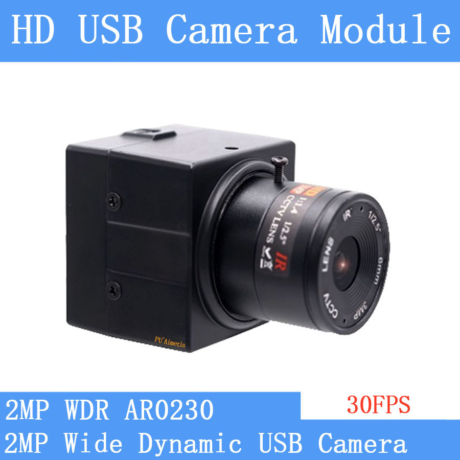 WDR 2MP Backlight shooting AR0230 1080P Linux UVC Plug Play 30FPS USB camera module shooting wide dynamic Webcam with Mini Case