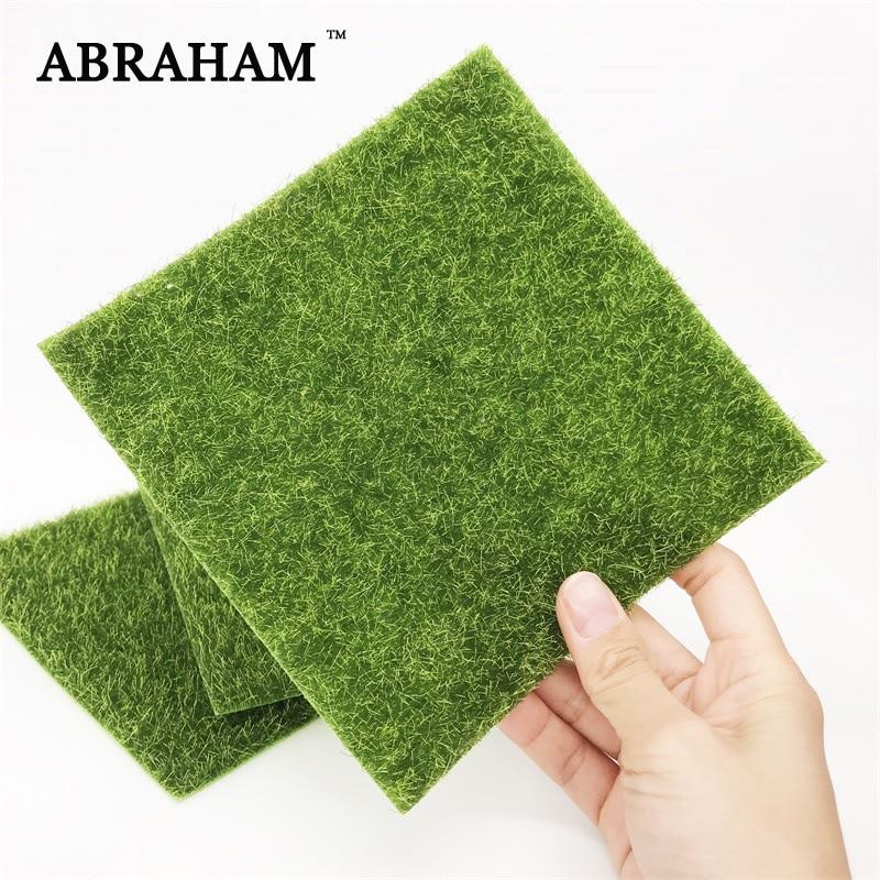 15x15cm Small Artificial Lawn Fake Grass Mat Green Fake Moss Wall False Turf Coaster For Miniature Garden Landscape Decoration