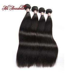 ALI ANNABELLE Straight Human Hair Bundles 34 32 30 Inch 1 3 4 Bundles Deals Natural Color Long Peruvian Hair Weave Bundles