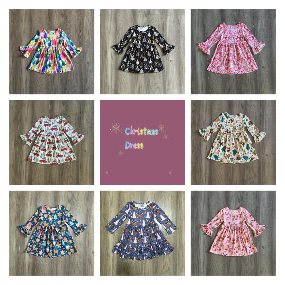 Exclusive Girlymax Christmas Girls Children Clothes Baby Santa Claus Fall/Winter Long Sleeve Ruffles Milk Silk Dress Boutique 1