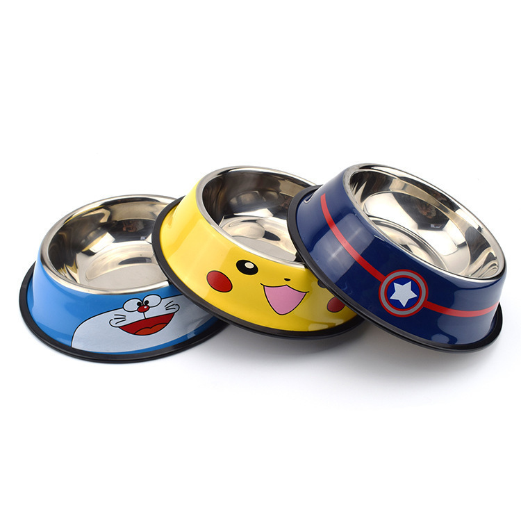Stainless Steel Pets Dog Bowl Cartoon Cute Travel Food Container For Cats Outdoor Drinking Water Dish Feeder Tableware Suluk