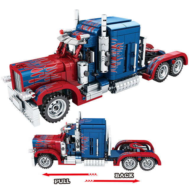 849pcs Classic Pull Back Special Commando Car Building Blocks Technic Heavy Container Truck Bricks Toys For Boys Gift