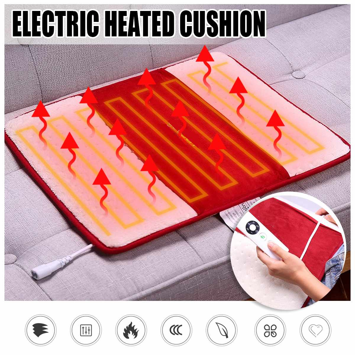 220V Electric Heated Pad Heat Mat Heating Blanket Warming Bed Carpet Feet Cushion Neck Back Shoulder Pain Relief Body Home Offic