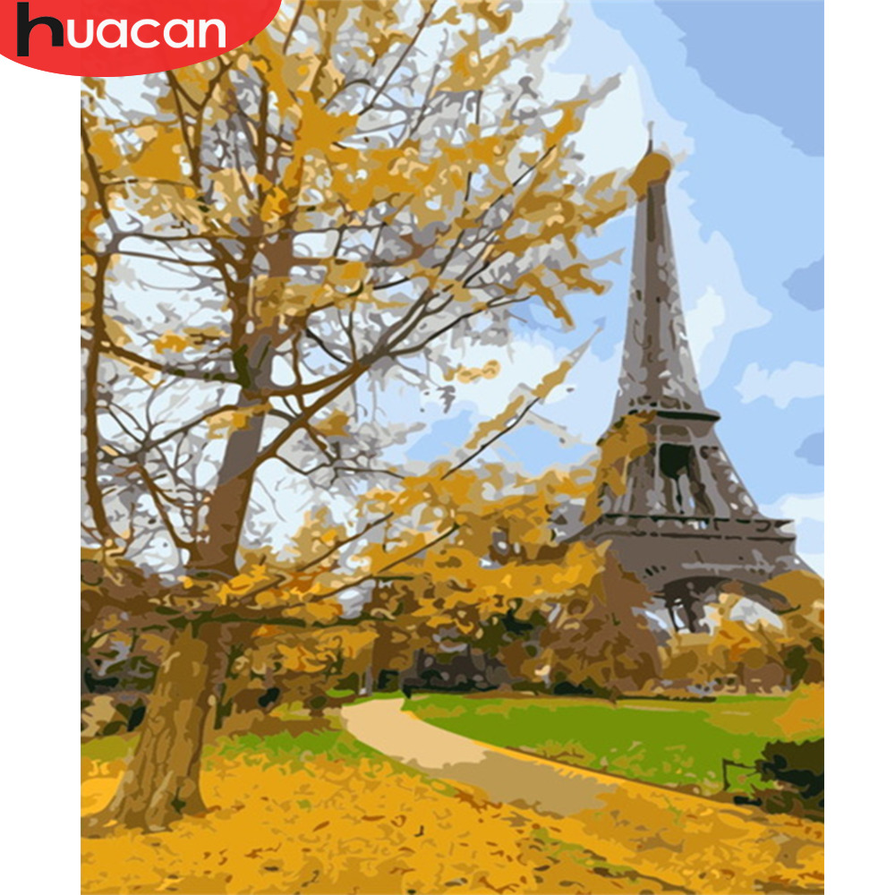 HUACAN DIY Oil Painting Tower Scenery Pictures By Numbers Autumn Landscape Kits Drawing Canvas HandPainted Home Decoration
