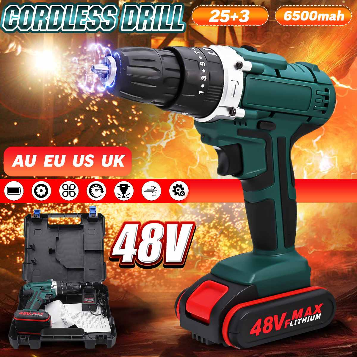 48V Cordless Drill Electric Drill Rechargeable 6500mah Battery Screwdriver Power Tools Mini Drill Drilling Electric Screwdriver