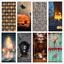 3D Halloween Element Dekoration Tür Aufkleber Selbst-adhesive Entfernbare PVC Wandbild Für Home Party Decor Poster Tapete deursticker(China)