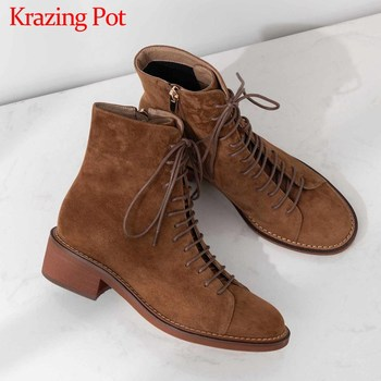 Krazing Pot new vintage British school cow suede breathable round toe med heels campus lace up winter keep warm ankle boots L67 liren 2019 winter women fashion casual ankle cow suede lace up boots round toe flat heels pu lady casual comfortable boots