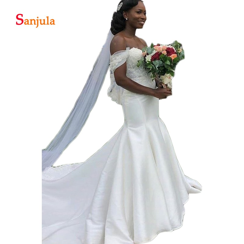 Off The Shoulder Ivory Satin Wedding Dresses African Bride Wedding