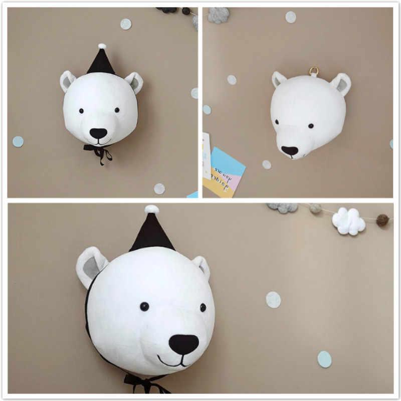 Милые набивные игрушки голова животного украшение стены слон медведь Единорог Кролик Плюшевая Игрушка олень куклы для детской комнаты декор для детской комнаты