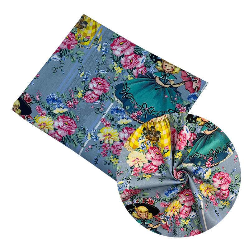 Floral tissu Bleu100/% Coton PopelinecoutureQuiltingMasque Visage