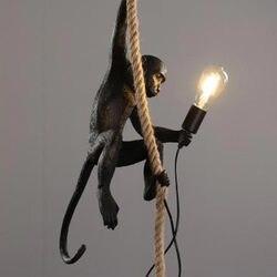 Люстра с Обезьянами светильник из смолы золотистого и черного цвета, подвесной светильник из пеньковой веревки, в комплект входит светильн...