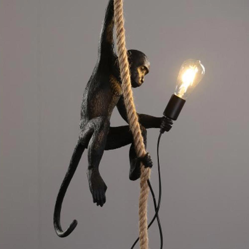 Lampadario in resina scimmia nera oro illuminazione Loft in resina lampada a sospensione in corda di canapa apparecchi Bar Cafe include lampade E27