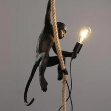 Reçine altın siyah beyaz maymun lamba hayvan aydınlatma Loft kenevir halat askılı lamba armatürleri Bar Cafe içerir E27 aydınlatma armatürleri