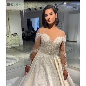 Image 4 - Ivory Satin Beading Crystal Long Sleeves Scoop  Floor Length A line Wedding dress Chapel Train Custom made