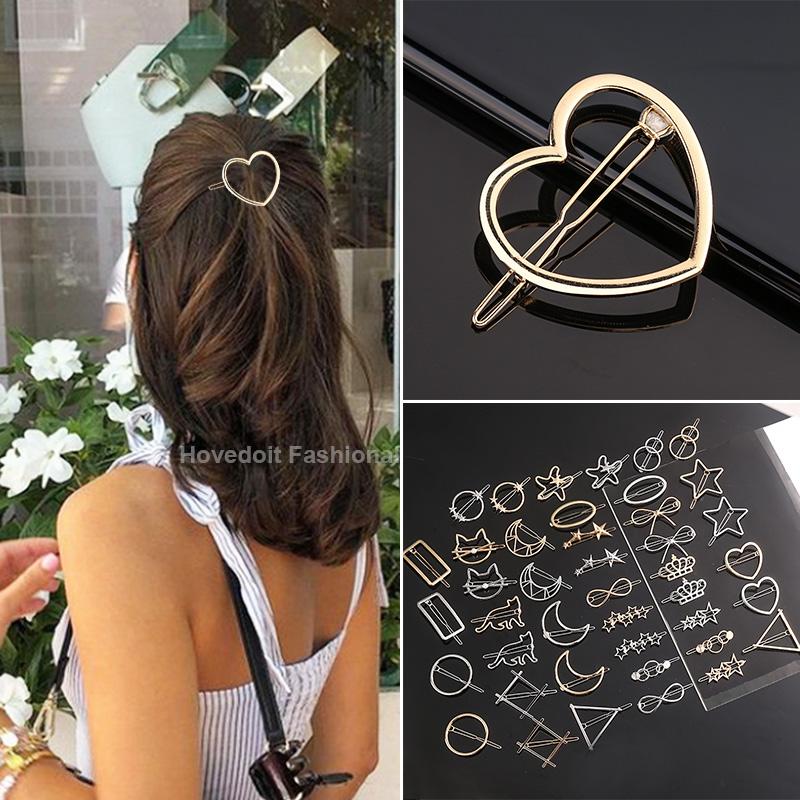 Fashion Metal Love Heart Hair Clip Elegant Star Round Barrette for Women Girls Sweet Hairpins Barrettes Hair Accessories