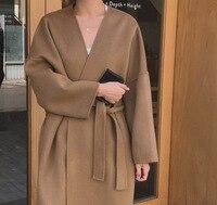 South Korea INS ren qi kuan Loose Fit Lace up Woolen Cloth Coat 2 Color
