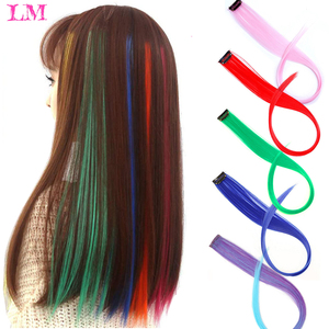 LM Long Straight Rainbow HairPiece Hair Extensions Clip In Hair Streak Pink Synthetic Hair Piece Strands on Clips