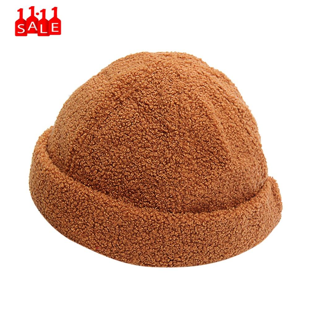 Além de veludo borda do inverno curl boinas femininas cor sólida skullcap pelúcia chapéu térmico pintor boina boina mujer # zd
