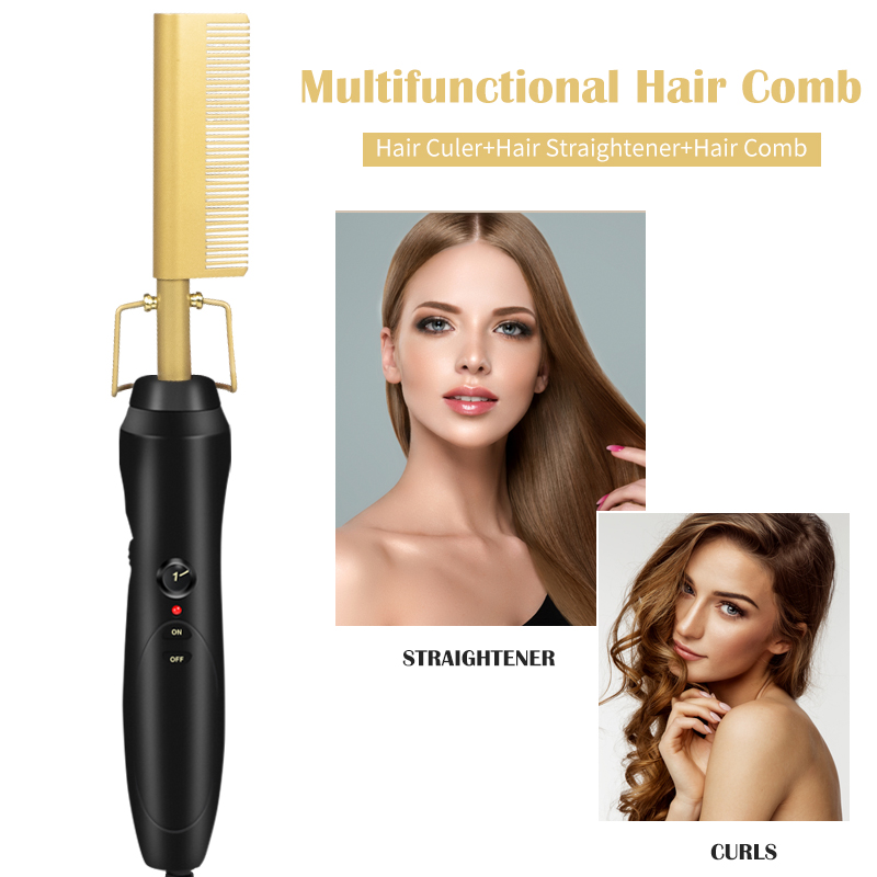 2 In 1 Hot Comb Hair Straightener Brush Hair Curlers Styler Curling Electric Comb Curler Straightening Smoothing Brush Flat Iron