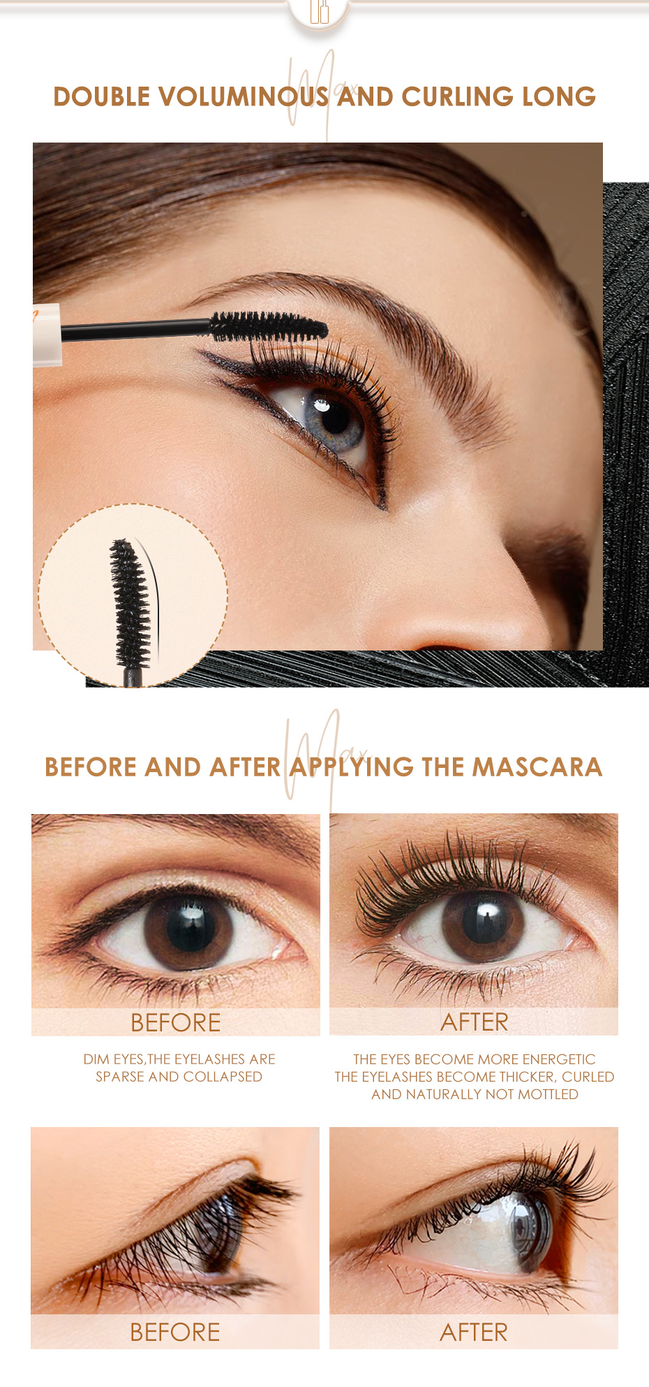 FOCALLURE Black Mascara Eyelashes Curling Thick Makeup Lengthening Eyelashes Makeup Waterproof Mascara Cosmetics