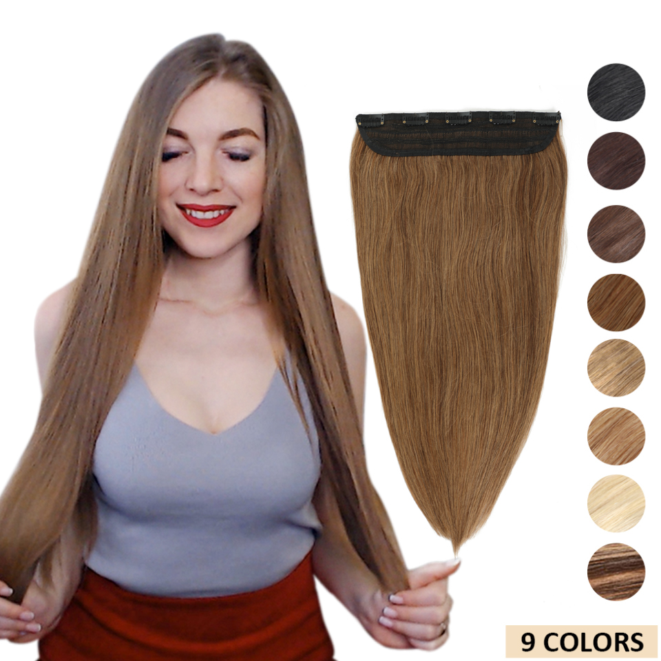 MRS HAIR Clip In Human Hair Extensions Straight Natural Hair On Hairpins 9 Colors Available Blonde Hair 14