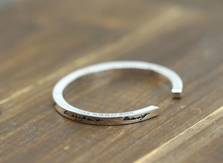 100% браслет из стерлингового серебра S925 пробы, индивидуальный простой модный стиль, властное открытие, стиль, отправка в подарок, ювелирные браслеты - 3
