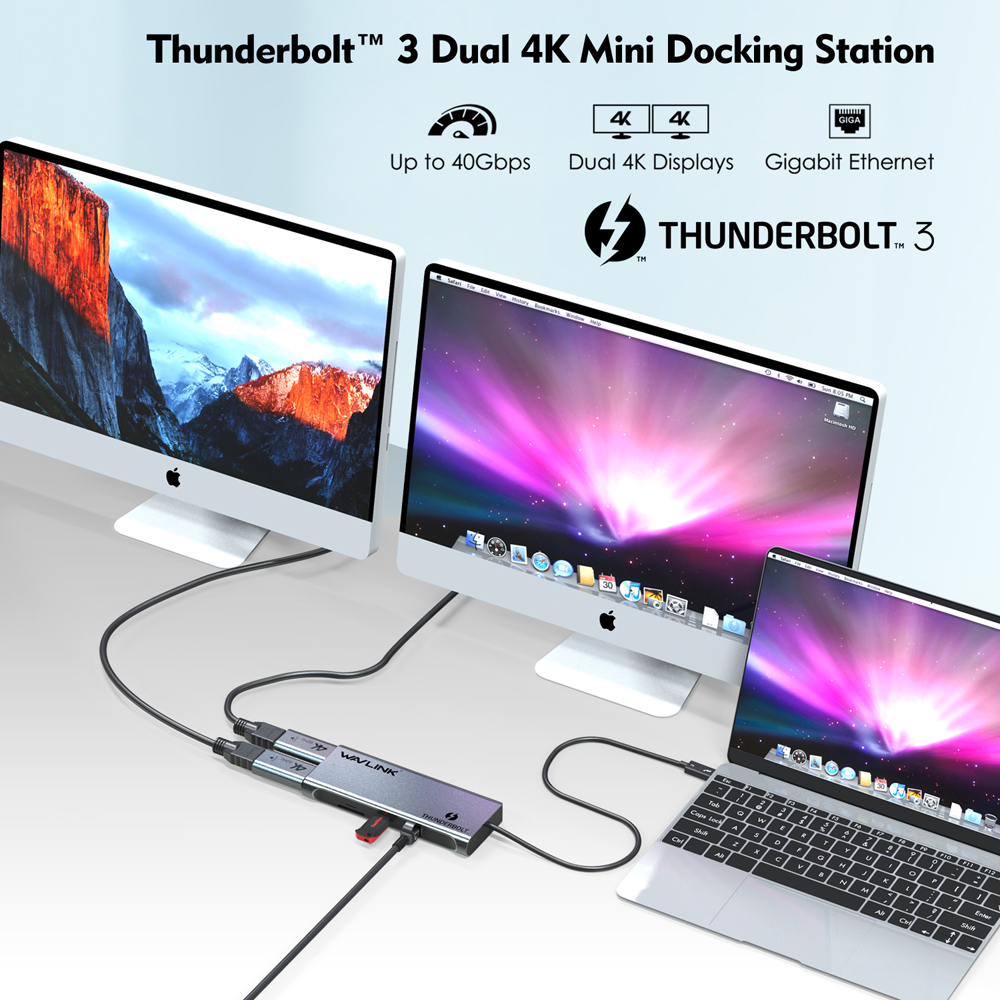 Купить с кэшбэком Thunderbolt 3 Dual DisplayPort 4K/Single 5K@60Hz Monitor Mini Docking Station DP to HDMI Adapters 40Gbps USB 3.0 Working Online