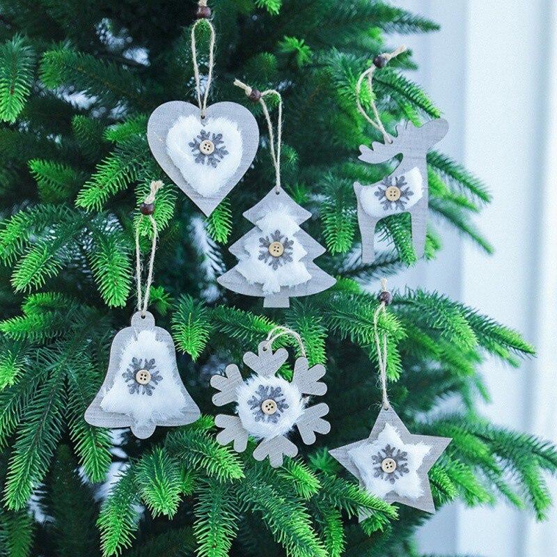 20192PCS Christmas Wooden Bell pendant Plush Hanging Decoration Snowflake Tree Festive Party Supplies