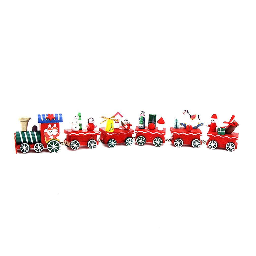 6 Knots Christmas Train Painted Wooden Christmas Decoration For Home With Santa Kids Toys Ornament Navidad New Year Gift