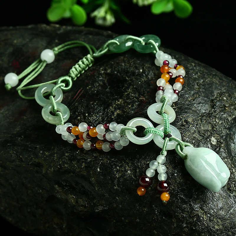 ธรรมชาติพม่า emerald Rose สร้อยข้อมือถักของแท้หยกสินค้า retractable สร้อยข้อมือผู้หญิงที่เรียบง่ายเครื่องประดับ