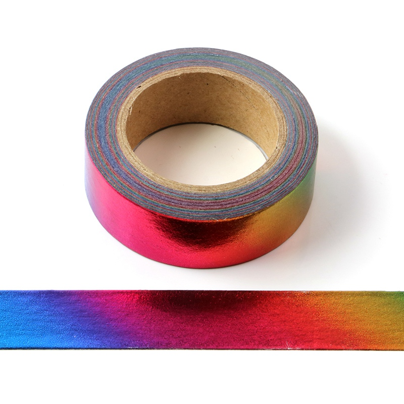 High Quality 10pcs/lot Rainbow Colors Valentines Foil Washi Tapes Scrapbooking Planner Adhesive Masking Tapes Kawaii Stationery