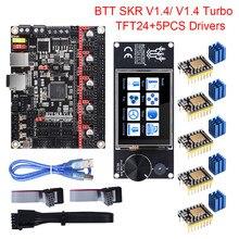 Bigtreetech btt skr v1.4 skr v1.4 turbo, placa de controle tft24, tela sensível ao toque, atualização skr v1.3 tmc2209 tmc2208, driver de motor de passo