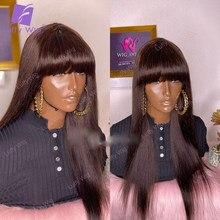 Borgonha peruca de cabelo humano com franja de seda em linha reta brasileiro remy cabelo cabeludo superior máquina perucas # 99j cor para preto luffywig
